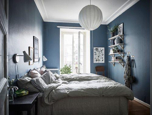 Slaapkamer Met Blauw