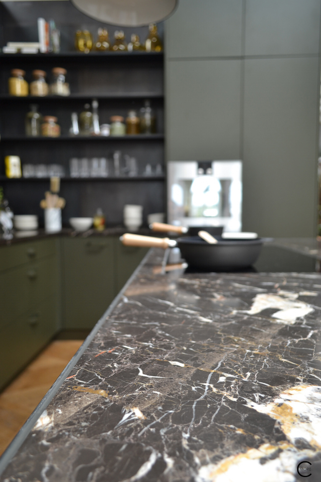 The Loft Amsterdam The Playing Circle August 2015 kitchen marble black green dark moody color inspiration styling