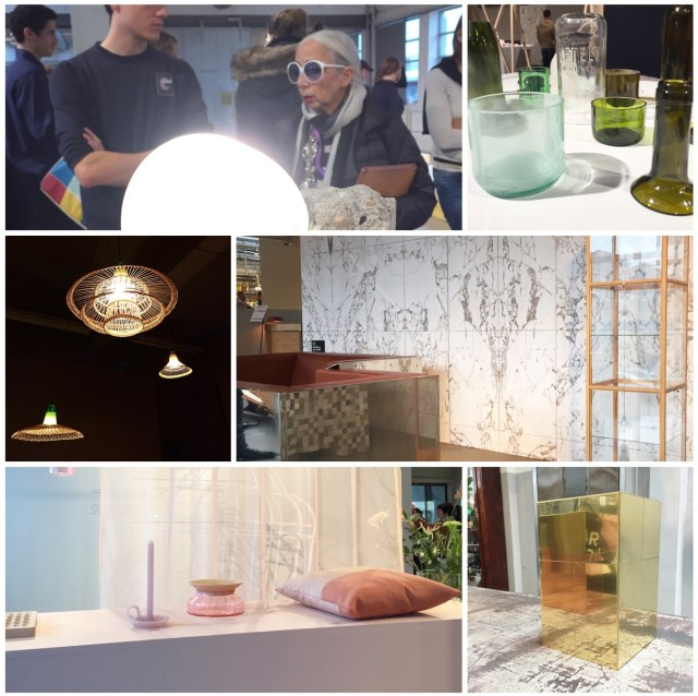 DDW15 Dutch Design Week 2015 collage by C-More interior blog | L-R | Rossana Orlandi + Martil Laforet | Design academy > Bottle Up | Klokgebouw > Tokihero Sato at Piet Hein Eek > NLXL + Piet Hein Eek marble wallpaper > Ontwerpduo at Piet Hein Eek > Brass vase by Piet Hein Eek