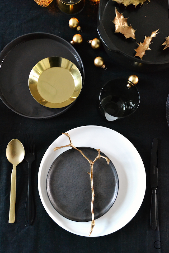 Serax tableware collection by Piet Boon and Pascale Naessens and Chris Mestdagh and Niels Datema | gold white black brass xmas table styling by C-More interiorblog