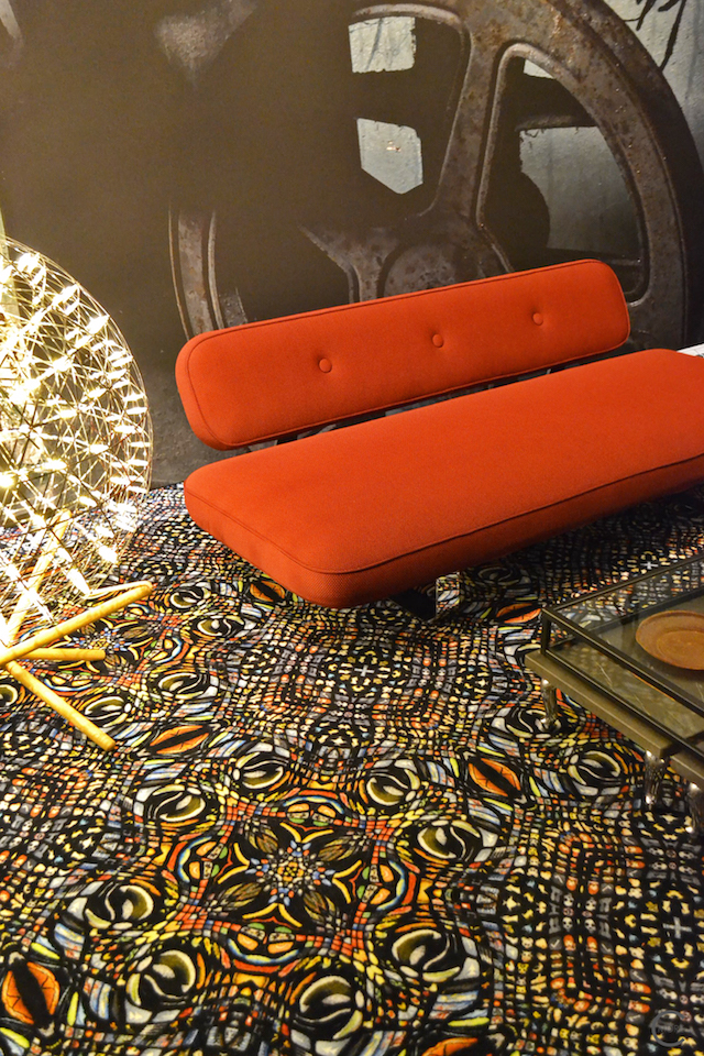 Red Sofa | Rug | Behind the scenes furniture setting | Moooi Milan Designweek 2016 by C-More