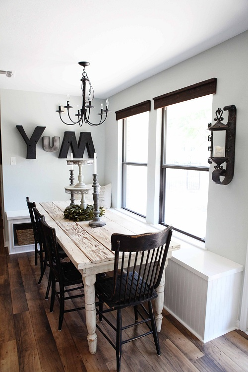 Romantische eetkamer met whitewash tafel  Interieur Wensen