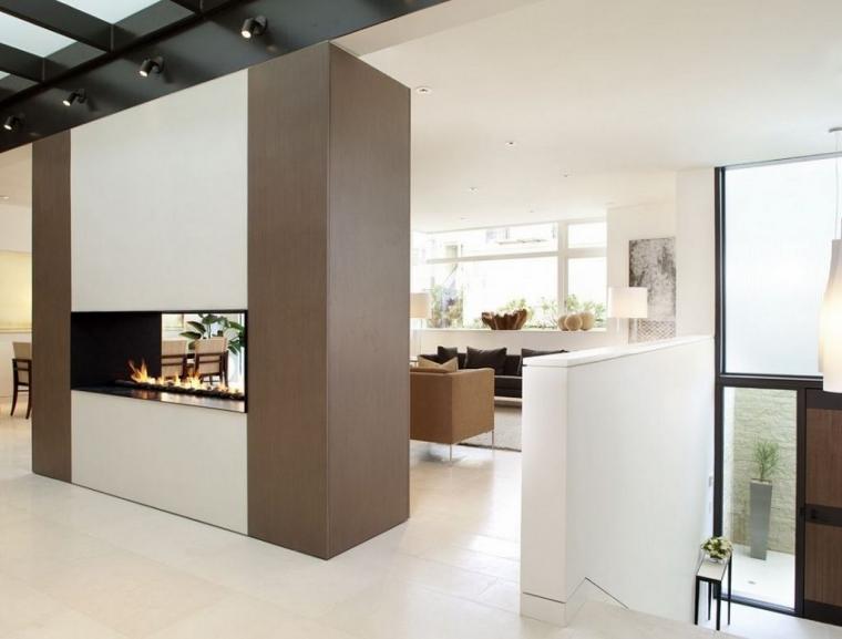 Moderne woonkamer met openhaard  Interieur Wensen