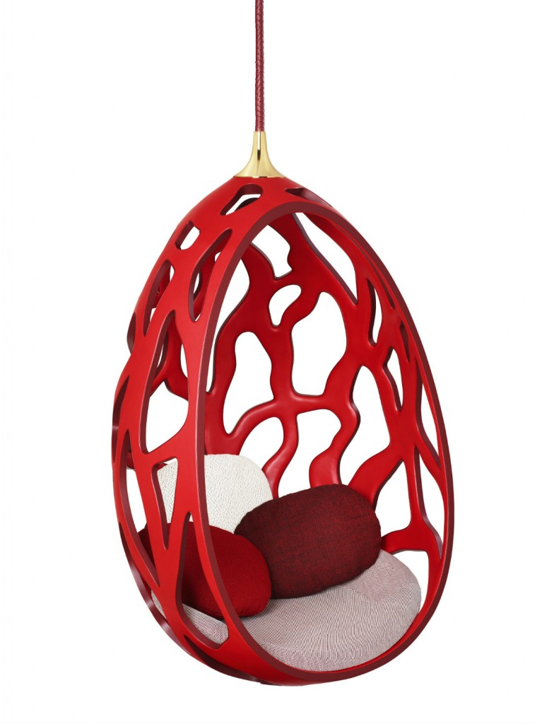 Silla suspendida Cocoon, de los hermanos Campana, para Louis Vuitton. Fotografía: cortesía Louis Vuitton Malletier