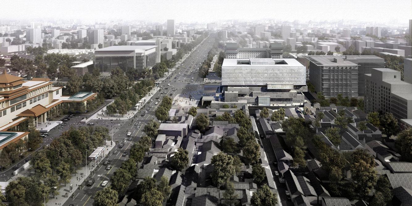 La construcción, compuesta por volúmenes geométricos, será protagonista de la escena cultural de la capital china. Render, cortesía © Buro Ole Scheeren.