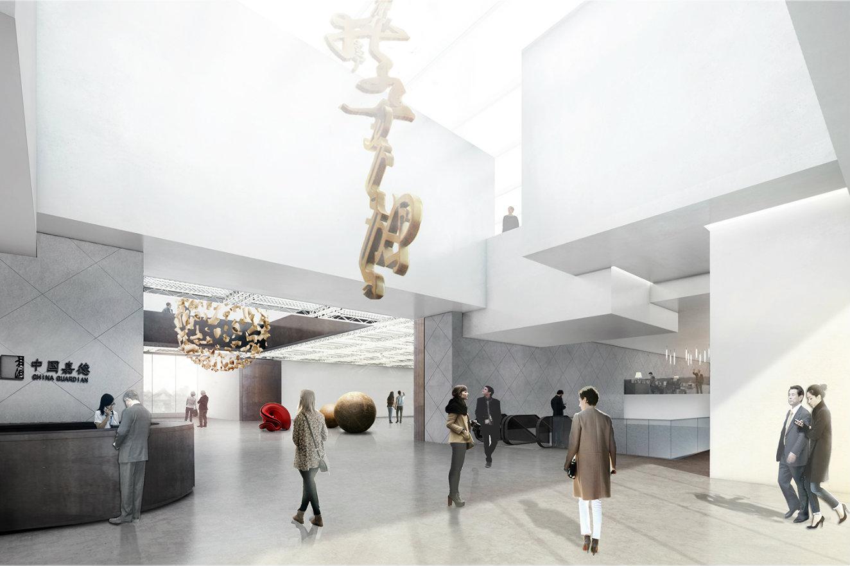 Lobby del centro cultural. Render, cortesía © Buro Ole Scheeren.