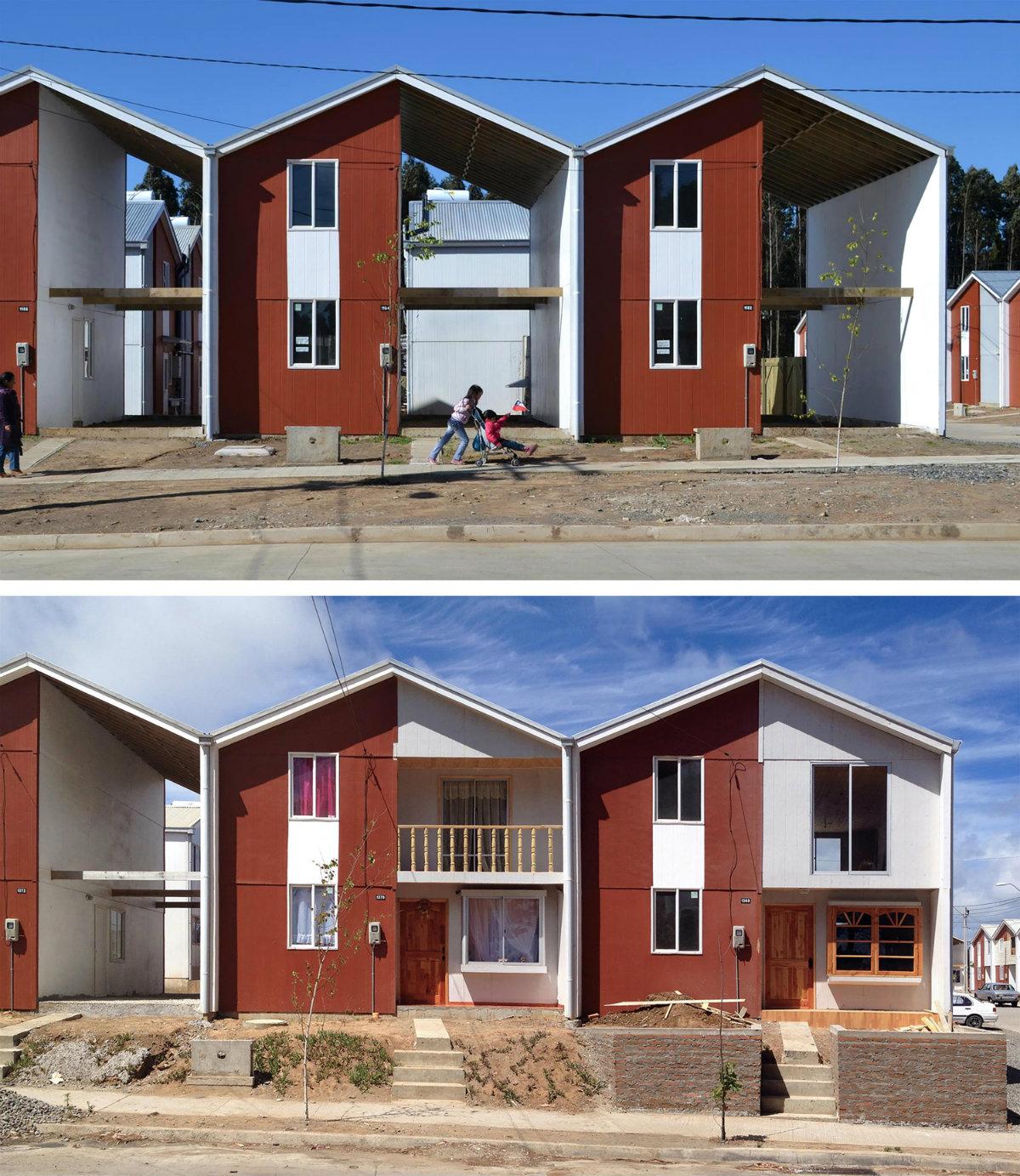 Viviendas Villa Verde (2013), Constitución, Chile. Arriba: 'Mitad de una buena casa' financiada con dinero público. Abajo: casa de clase media lograda por sus residentes. Fotografía: Elemental.