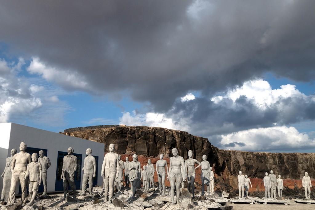 Esculturas de cemento antes de ser sumergidas al mar. Fueron fabricadas con un cemento especial que las conservará bajo el mar por 300 años.
