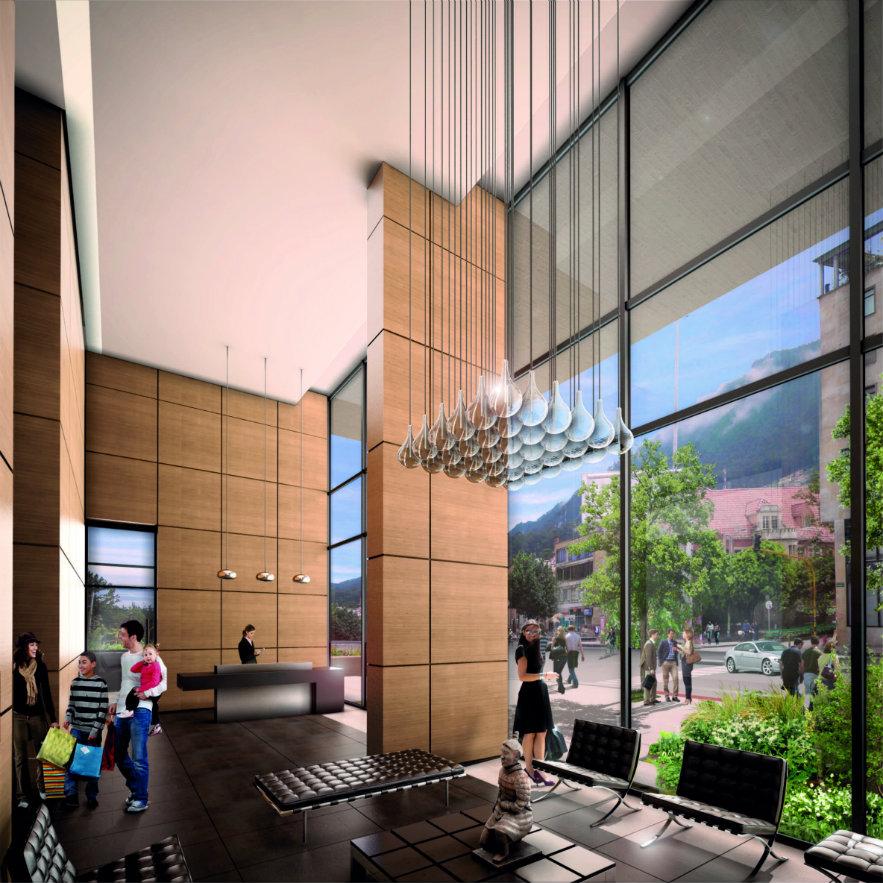 Lobby de acceso a la zona de vivienda. Render, cortesía Teleskop.