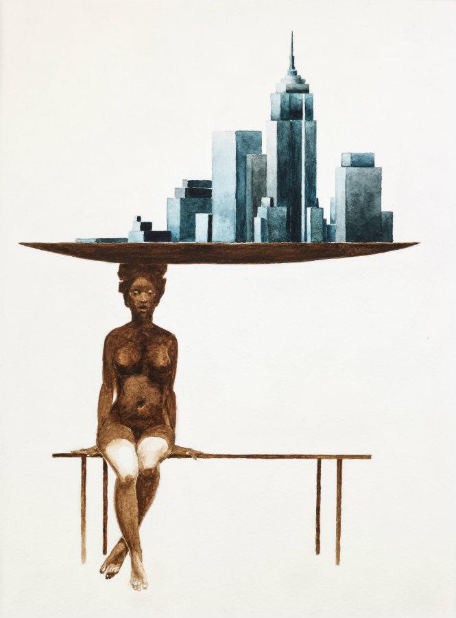 Diestra a siniestra. Acuarela sobre papel, 30 x 22.5 cm. 2016. Cortesía Beatriz Esguerra Arte.