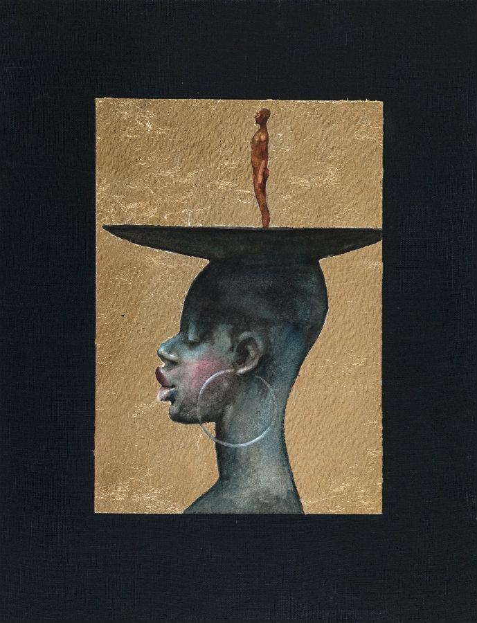 Mujer y Ego. Técnica mixta sobre papel, 18 x 12,5 cm. 2016. Cortesía, Beatriz Esguerra Arte.