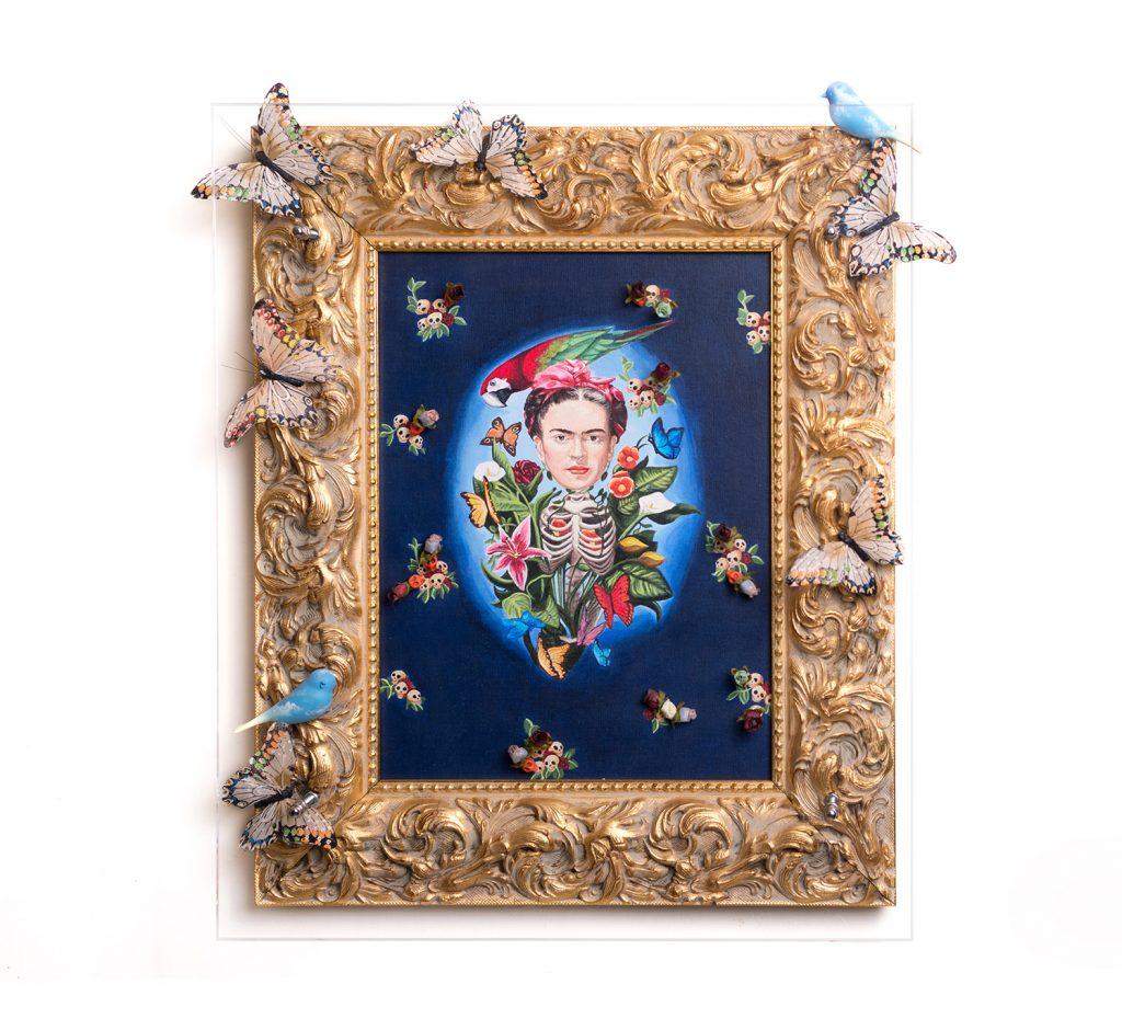 Autor: Gabriel Ortega. Título: La Natura de Frida. Técnica: Mixta. Acrílico sobre lienzo. Formato: 50 x 60 x 8cm. Año: 2013.