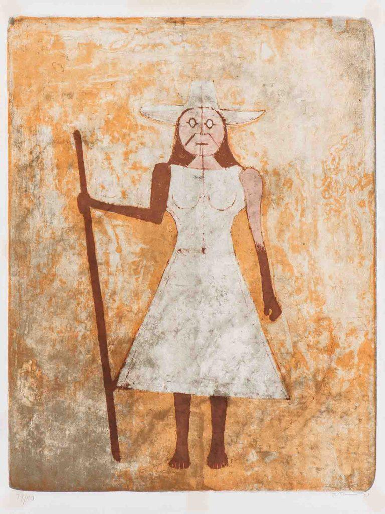 Rufino Tamayo. La Campesina. 1969. Litografía sobre papel. Edición 79 de 150. 76 x 57 cm (tamaño del papel).