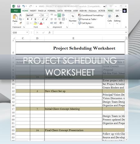 Interior Design Business Project Scheduling Worksheet