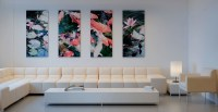 Flower Wall Art Hanging And Cream L Shaped Sofa Design ...