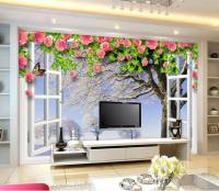 Open Window Wallpaper And Lcd Tv Cabinet Design Id858 ...