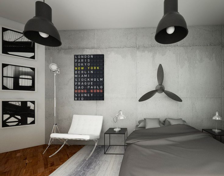 Tende per camere da letto moderne. Effetto Cemento E Complementi In Stile Industrial In Camera Da Letto Interiorbe