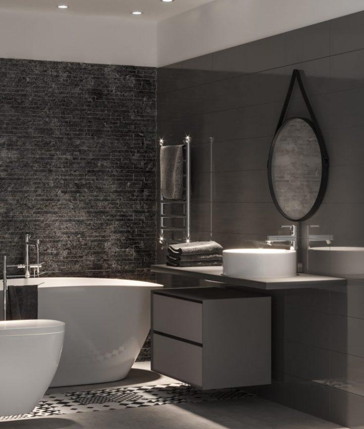 Bagno Moderno Nero E Grigio Bagno bianco e nero foto