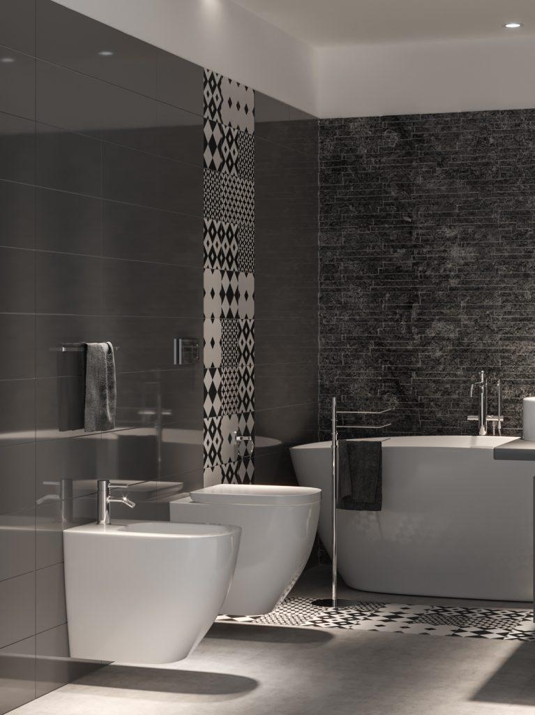 4 diversi rivestimenti per uno splendido bagno di tendenza grigio antracite  InteriorBe