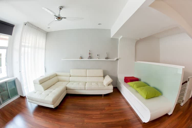 lighting ideas for living room with ceiling fan glass furniture 16 rooms fans pictures this modern is awash in style and natural light white furnishings painted walls keep the feeling fresh