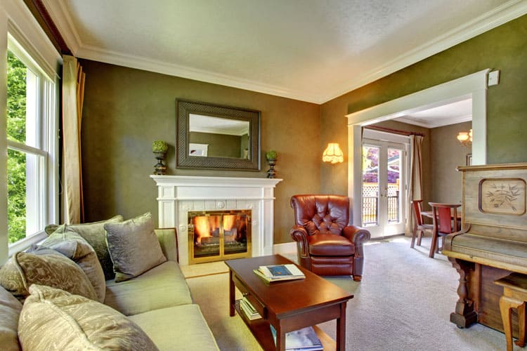 elegant living rooms with fireplaces room interiors indian homes 28 designs pictures who wouldn t want to curl up a good book by the roaring fire in this green wall treatment makes house feel centuries old