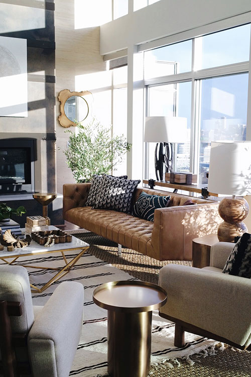 Seattle Showhouse Brian Paquette Camel Leather Sofas Inspiration