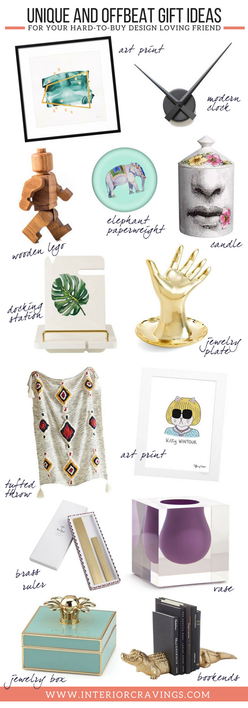 INTERIOR CRAVINGS unique and offbeat gift ideas for hard to buy design loving friends THE GIFT GUIDE all in one