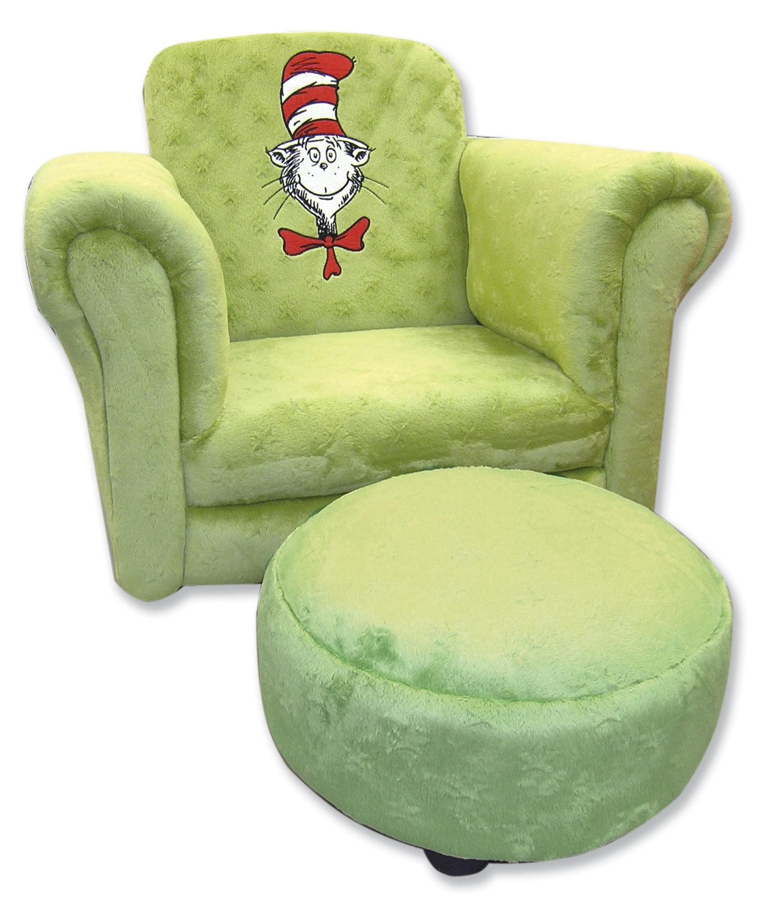 dr seuss chair grey accent with ottoman cat in the hat sage trend lab