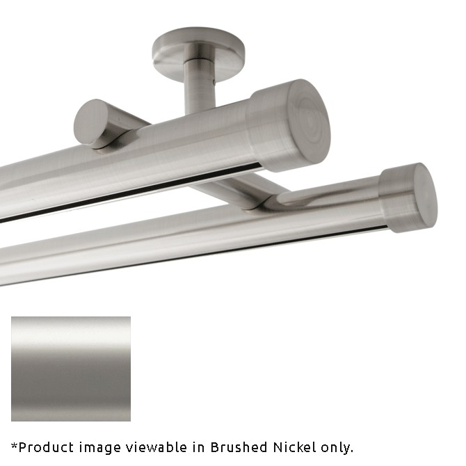 double rod ceiling mount h rail curtain track satin nickel