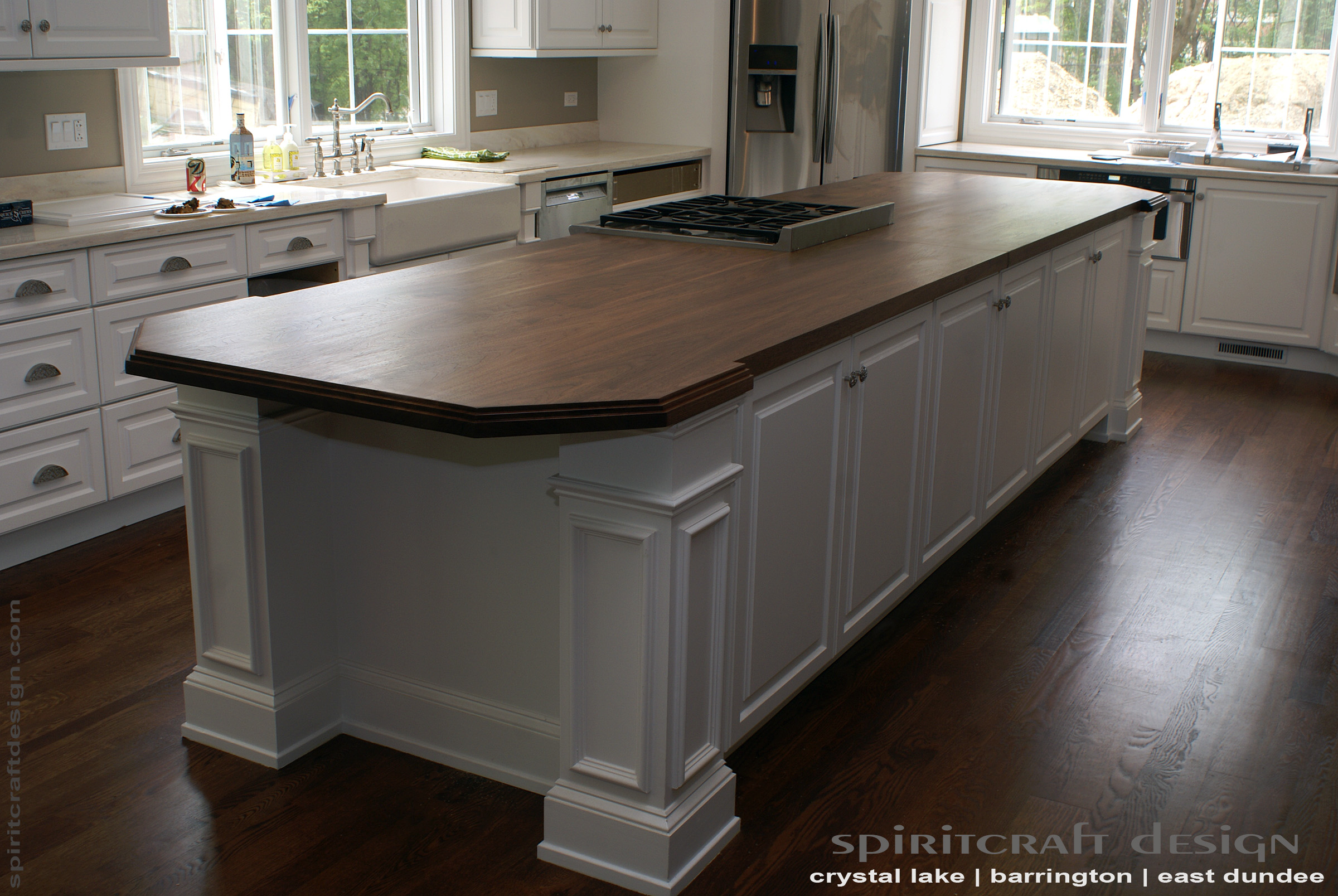 kitchen island top with oven custom walnut slab by spiritcraft design furniture interior accents solid hardwood in glenview illinois