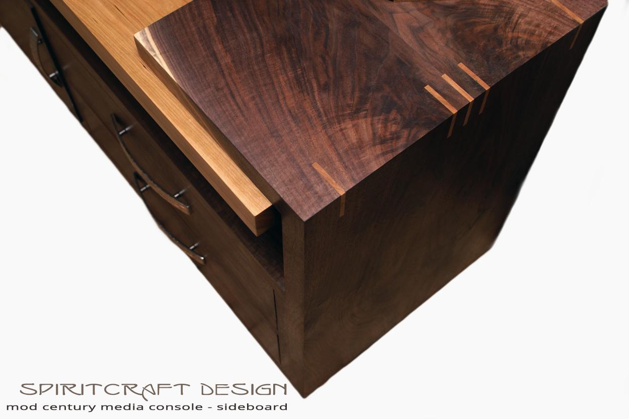 Mid Century Modern Solid Walnut Hardwood Media Console by