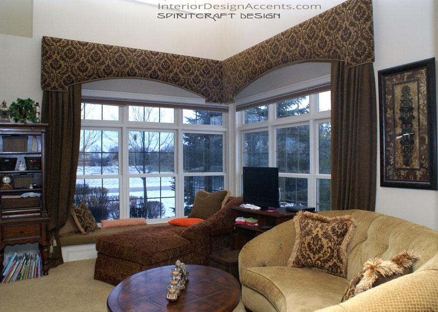 Cornice Window Treatments With Drapery Panels Interior