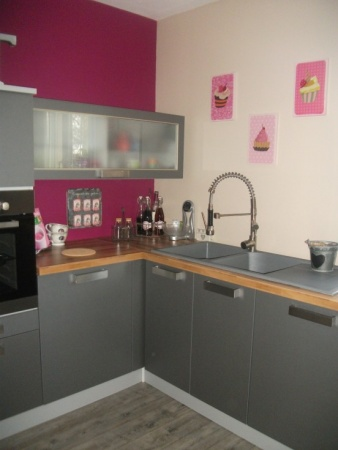pink kitchen rug drawers unconventional color combination for the ...