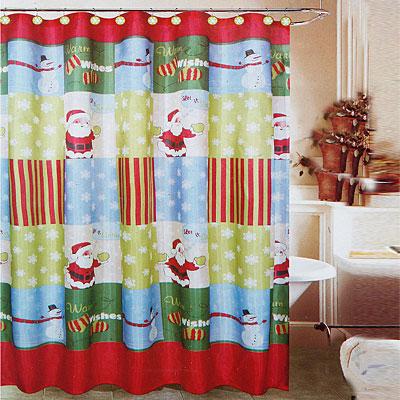 Christmas Shower Curtains  Interior Designing Ideas
