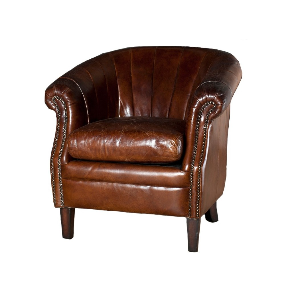 tub chair brown leather and a half cover roosevelt occasional chairs
