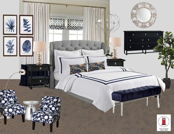 Navy White and Gray Master Bedroom