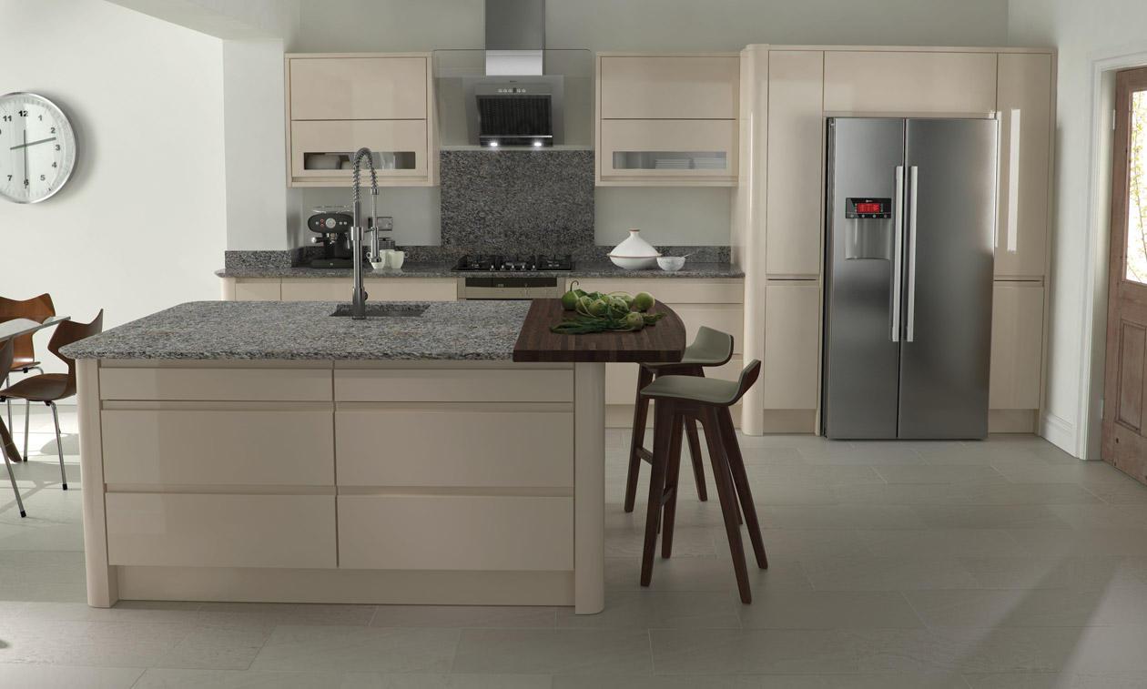 Remo Handless Beige Gloss Kitchen