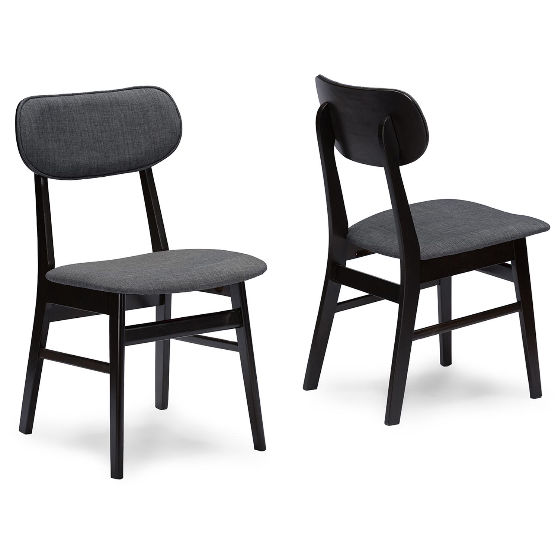 dark brown wooden dining chairs desk chair support baxton studio debbie mid century wood 5pc set iert332 336