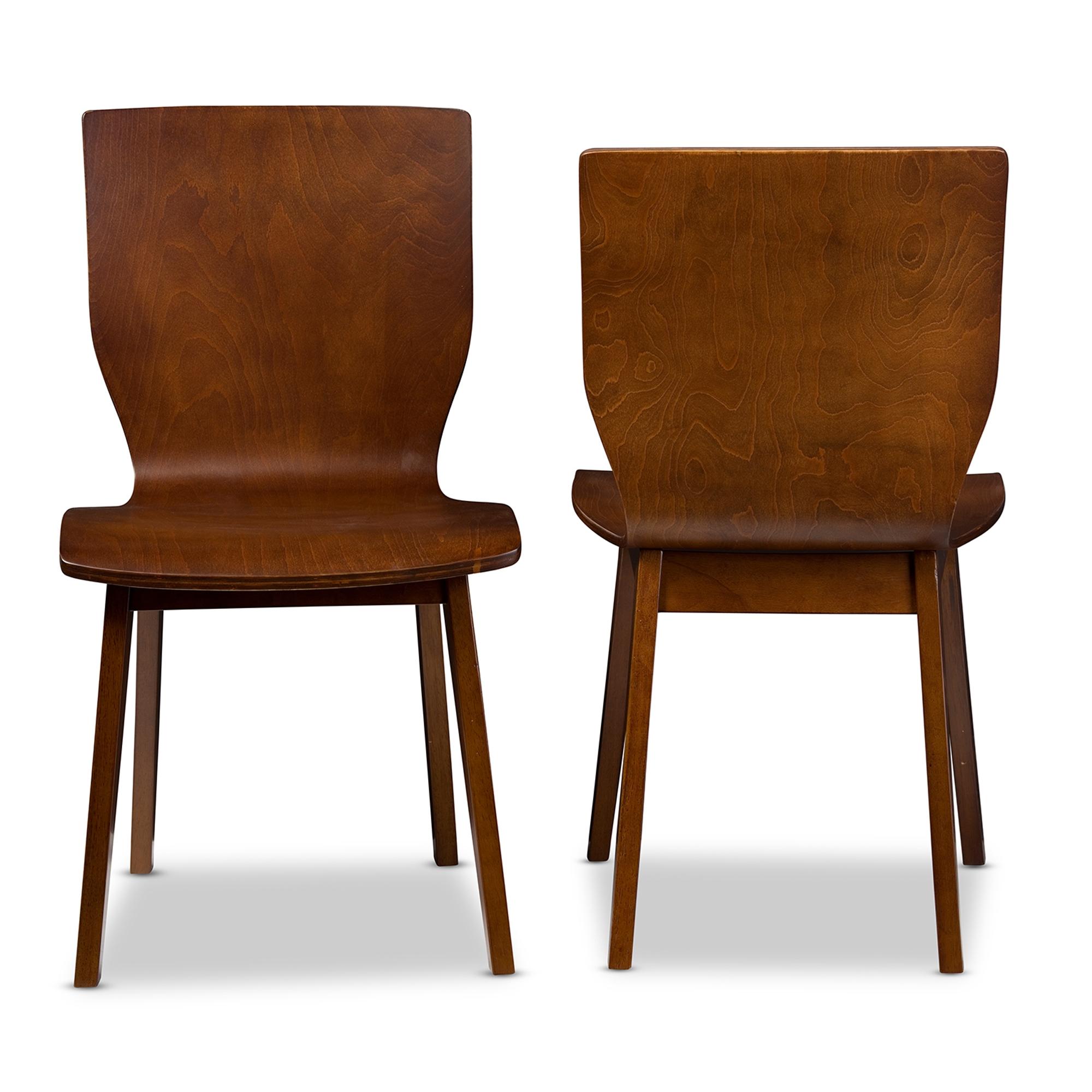dark brown wooden dining chairs plastic office chair baxton studio elsa mid century modern scandinavian style walnut bent wood