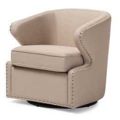 Swivel Upholstered Chairs Chair Cushions With Ties Ireland Baxton Studio Finley Mid Century Modern Beige Fabric Armchair Iedb 203