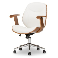 Modern White Desk Chair Big And Tall Outdoor Chairs Baxton Studio Rathburn Contemporary Walnut Office Iesd 2235