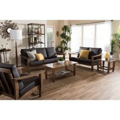 Walnut Furniture Living Room Wooden Wall Units Baxton Studio Pierce Mid Century Modern Brown Wood And Dark Faux Leather