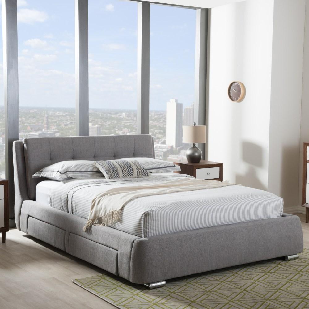 Baxton Studio Camile Modern and Contemporary Grey Fabric