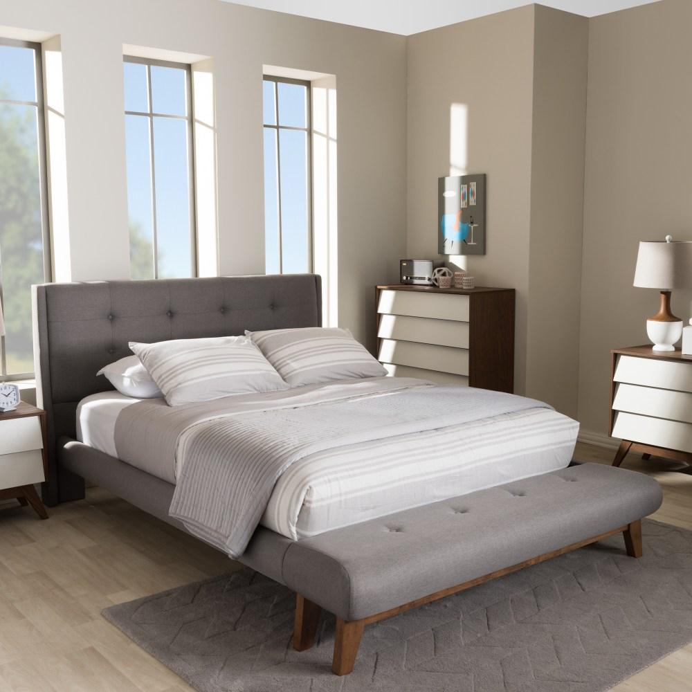 Baxton Studio Reena Modern and Contemporary Grey Fabric