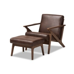 Lounge Chair Leather Massage With Foot Baxton Studio Bianca Mid Century Modern Walnut Wood Dark Brown Distressed Faux