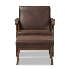 Baxton Studio Modern Leather Accent Chair Ergonomic Johor Bahru Bianca Mid-century Walnut Wood Dark Brown Distressed Faux Lounge ...
