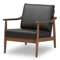 Baxton Studio Venza Mid-Century Modern Walnut Wood Black ...