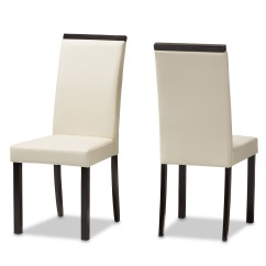Cream Upholstered Dining Chairs Unfinished Desk Chair Baxton Studio Daveney Modern And Contemporary Faux Leather Set Of 2