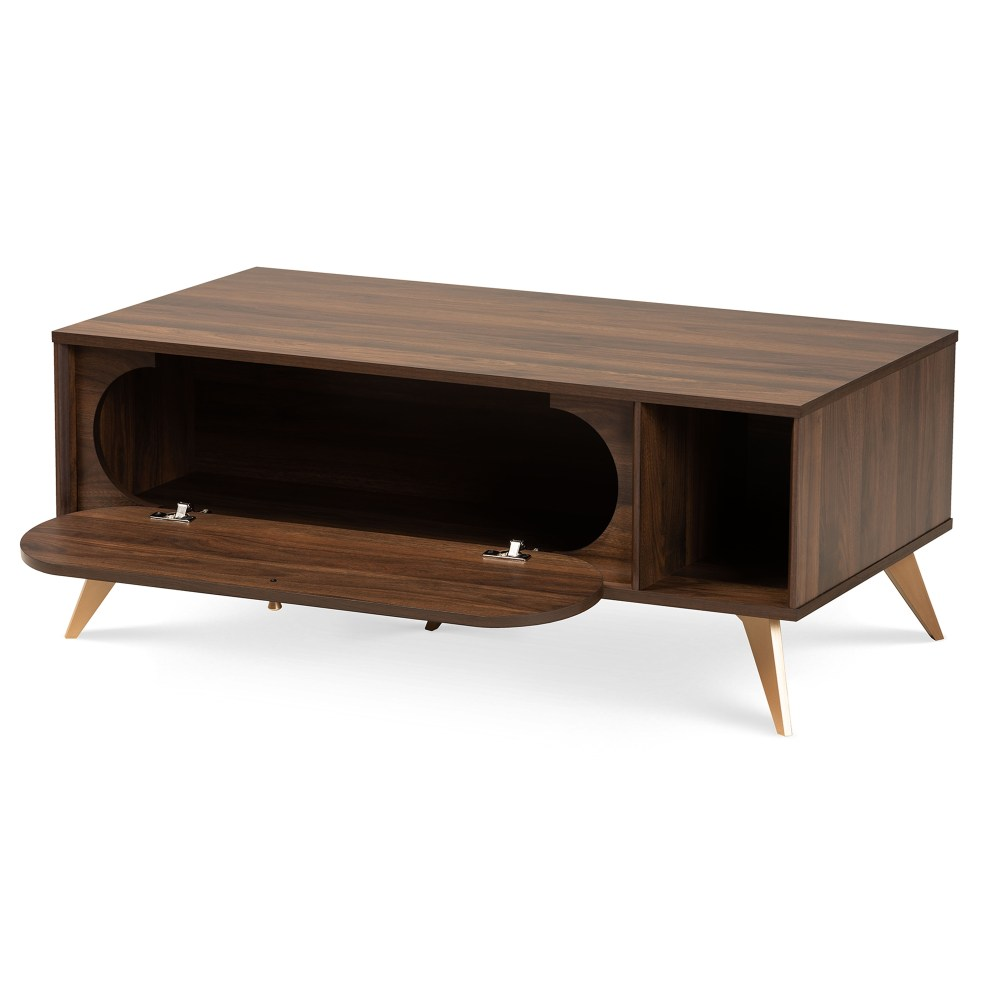 baxton studio edel mid century modern walnut brown and gold finished wood coffee table