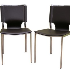 Metal Frame Leather Dining Chair With Casters Dark Brown Chrome Set Of Two